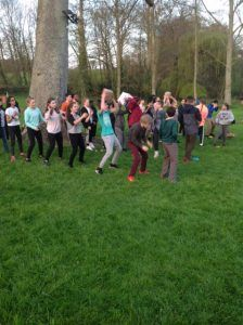Highclare Senior School pupils in Normandy - team building games